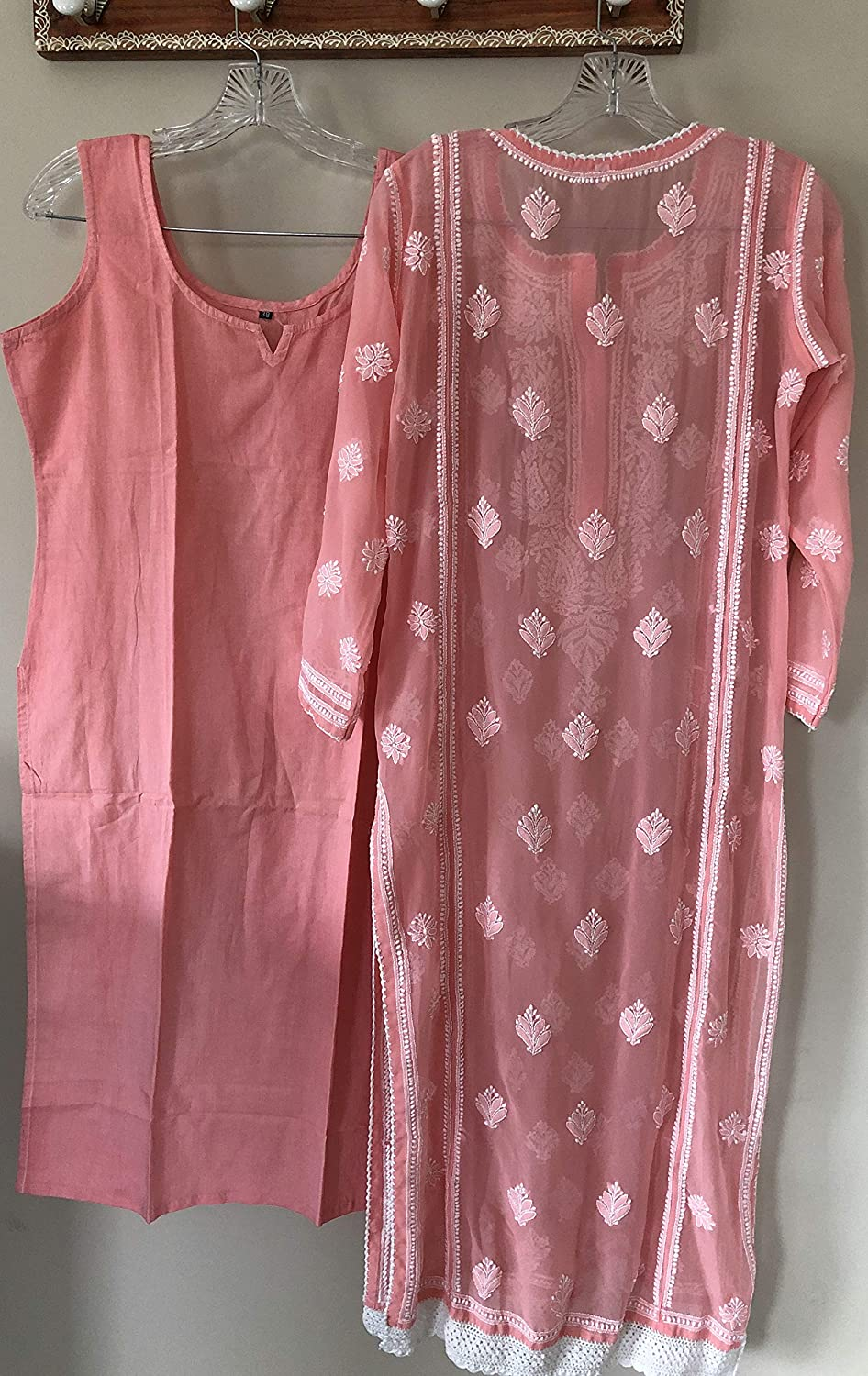 Lucknow Chikankari Suit//Peach Georgette Kurta with Cotton Embroidered Pants//Size Small for bust size 34 inches 38