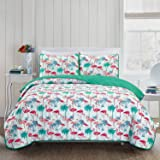 """Printed Quilt Coverlet Set Bedspread Full / Queen Size (86x86"""") 3 Piece Quilt Set Flamingo Design by HollyHOME"""