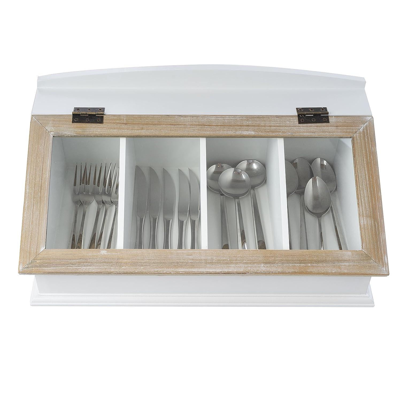 elbmöbel Besteckkasten mit Glasdeckel aus Holz (Braun): Amazon.de ...