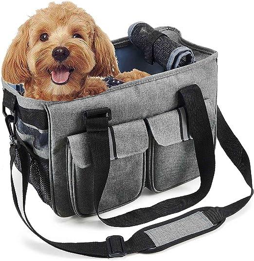 Louvra Capazo de Perro Portador Perro Mochila Gatos Bolsa Canasta Transportín Plegable para Aerolínea, Color Gris: Amazon.es: Productos para mascotas