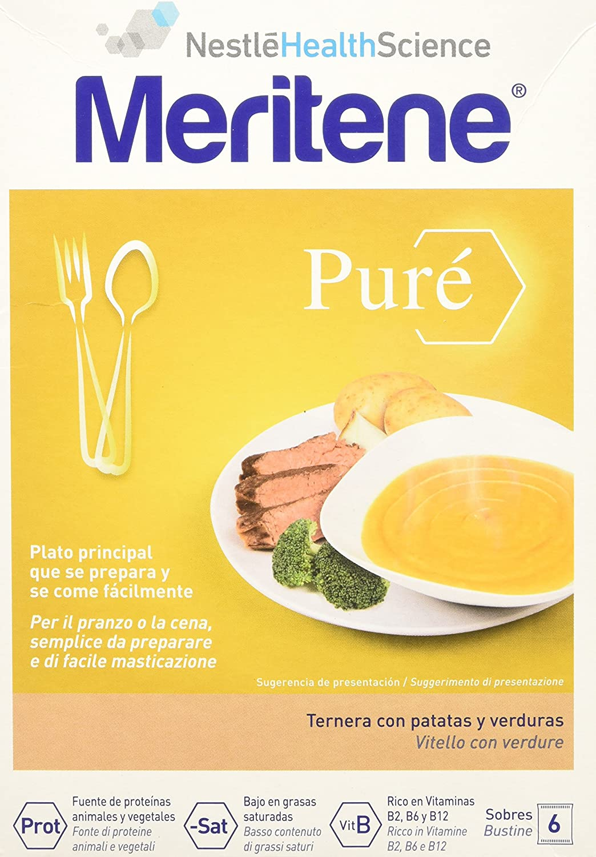 MERITENE Pure ternera con patatas y verduras 6 sobres: Amazon.es: Salud y cuidado personal