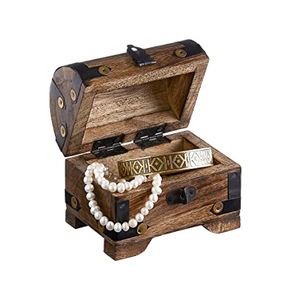 Jewelry Storage Box With Clasp   Treasure Chest   Vintage Chest   Dark Wood    Pirate