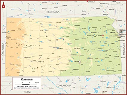 Amazon Com Academia Maps Kansas State Wall Map Fully Laminated