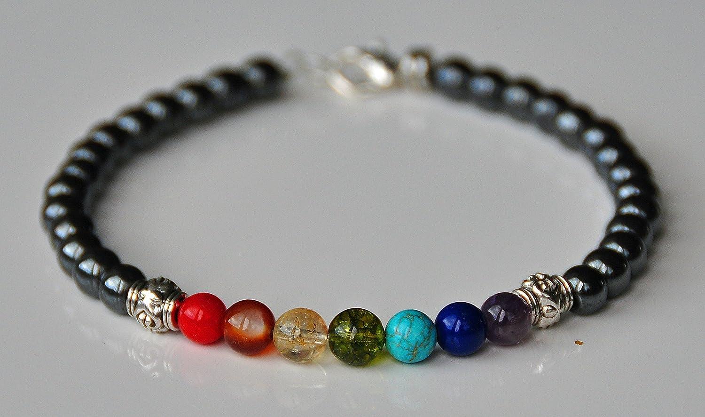 Hematite Grounding 7 Chakra Gemstone Beaded Anklet, Boho Jewelry, Boho Anklet, Balance Chakra, Energy Healing