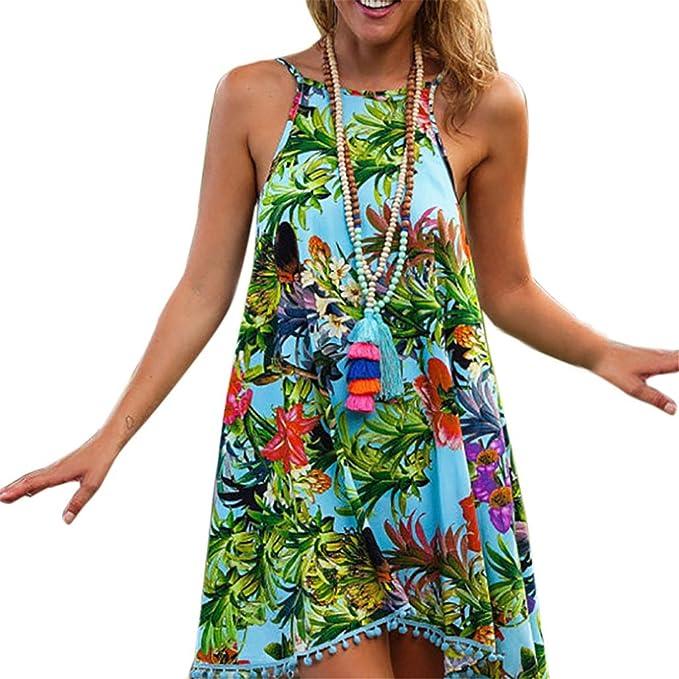 4cb29125e0 Longra ♧Diseño de la selva Verano de las mujeres impresas sin mangas vestido  de playa