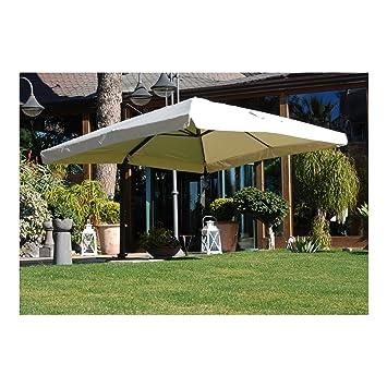 Ombrellone da giardino 300 x 400 cm ecru\' in alluminio per esterno ...
