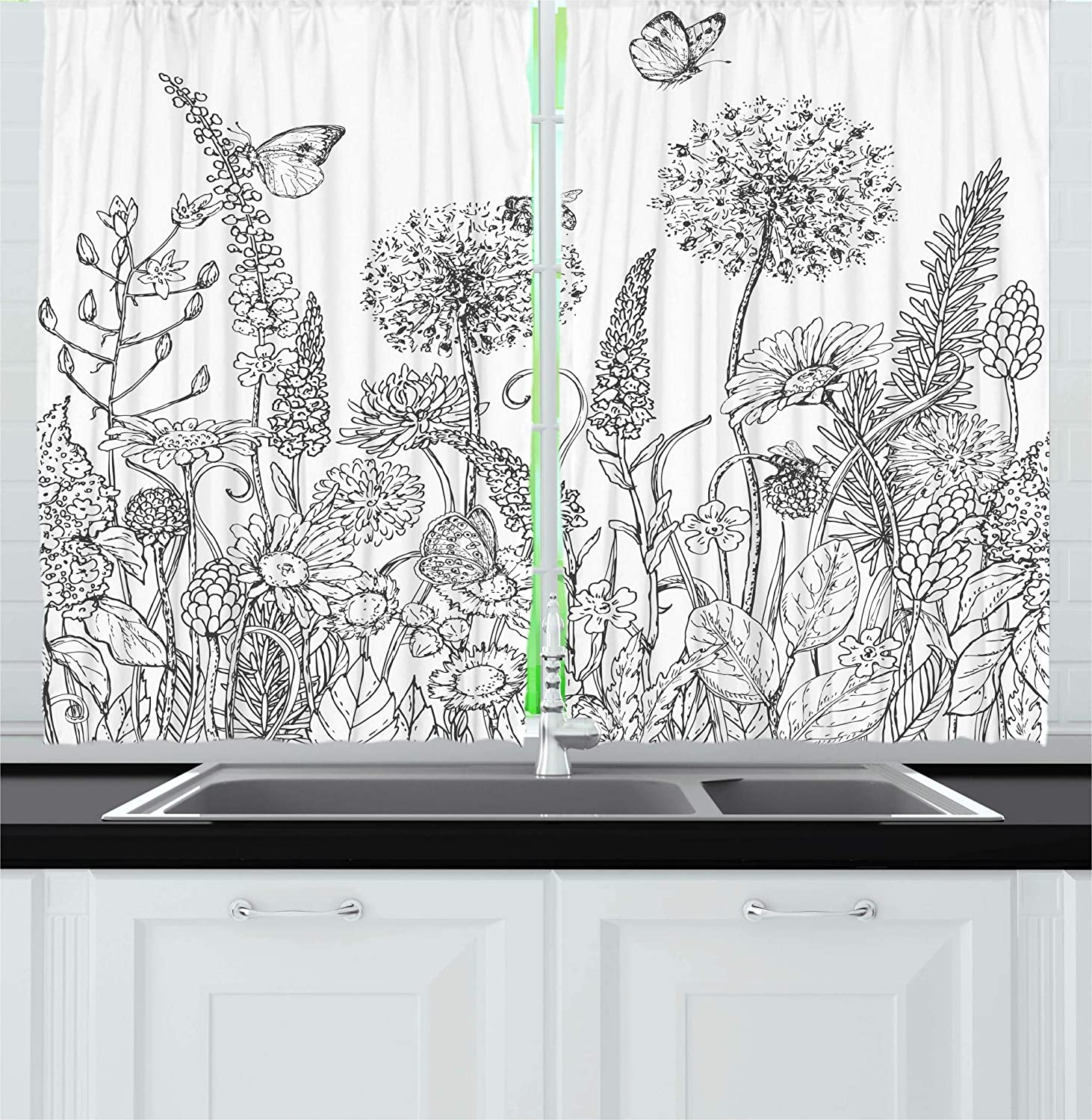 Ambesonne Floral Kitchen Curtains, Sketchy Hand Drawn Style Garden with Various Flowers Leaves and Grass Image, Window Drapes 2 Panel Set for Kitchen Cafe Decor, 55