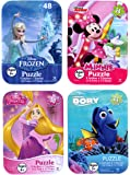 4 Collectible Puzzles Tins for Girls Ages 5+ 6+ Disney Princess Rapunzel Frozen Minnie Mouse Finding Dory Nemo Gift Set Bundle