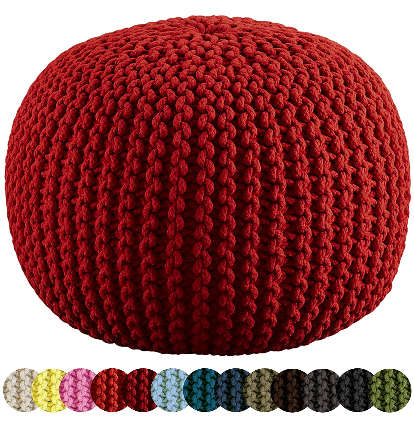 amazoncom cotton craft  hand knitted cable style dori pouf  - amazoncom cotton craft  hand knitted cable style dori pouf  ivory floor ottoman   cotton braid cord  handmade  hand stitched  trulyone of a