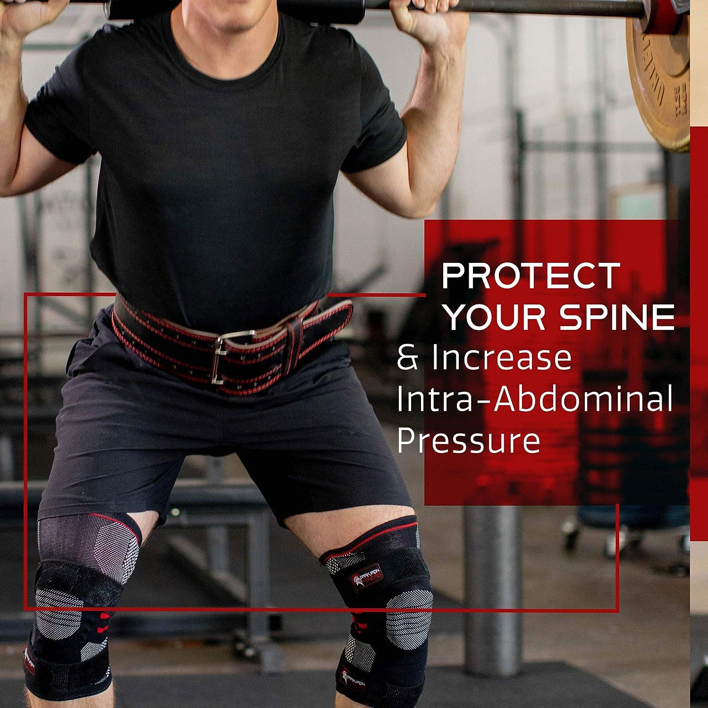 Dark Iron Fitness Ceinture de Fixation en Cuir v/éritable Durable avec Boucle r/églable pour Hommes et Femmes
