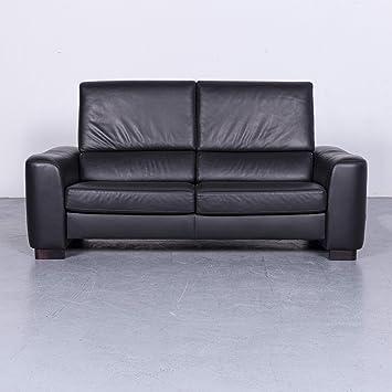 Ewald Schillig Diseñador Sofá Piel Negro 2 plazas sofá ...