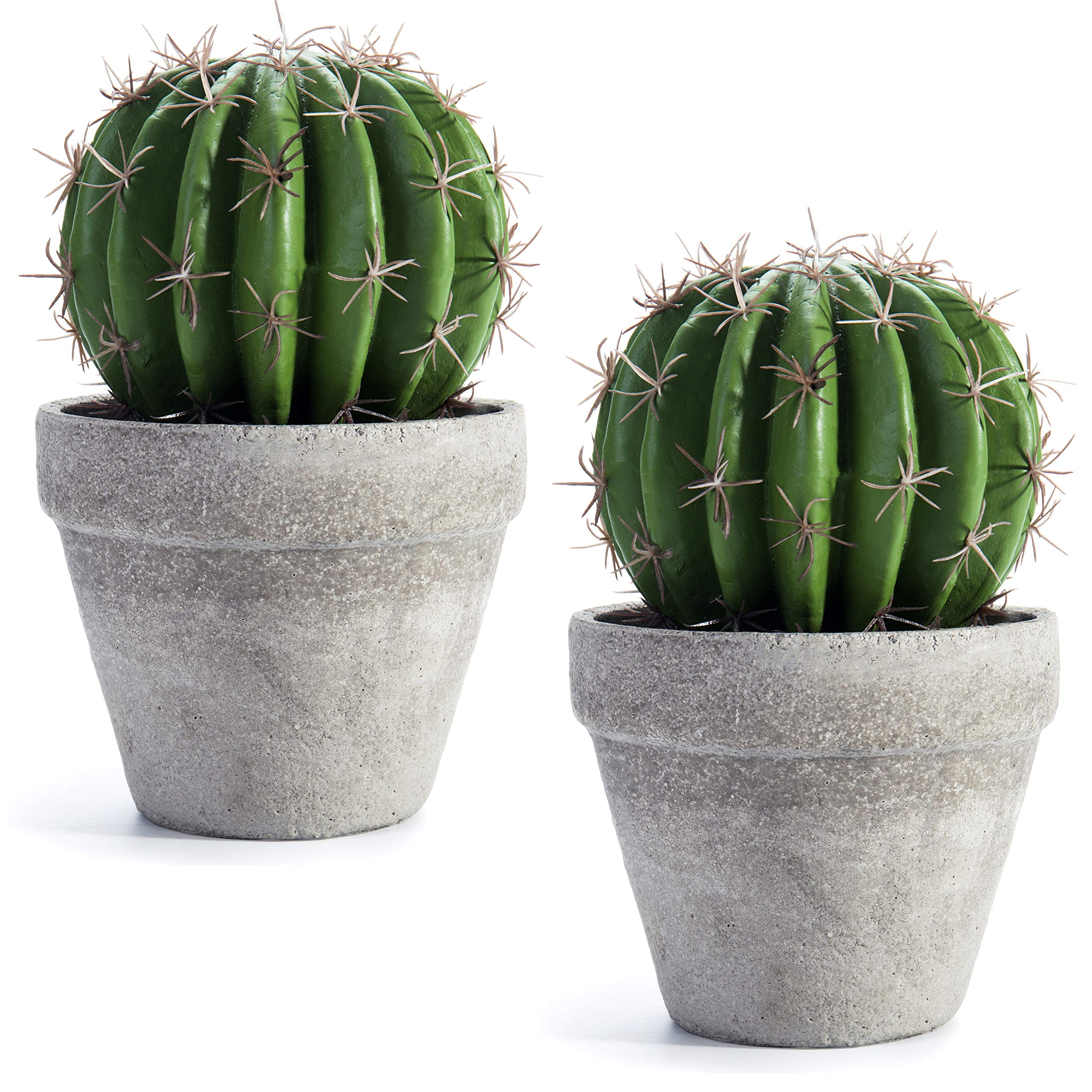 MyGift 8.5-inch Faux Barrel Cactus Plant in Cement-Style Planter Pot, set of 2
