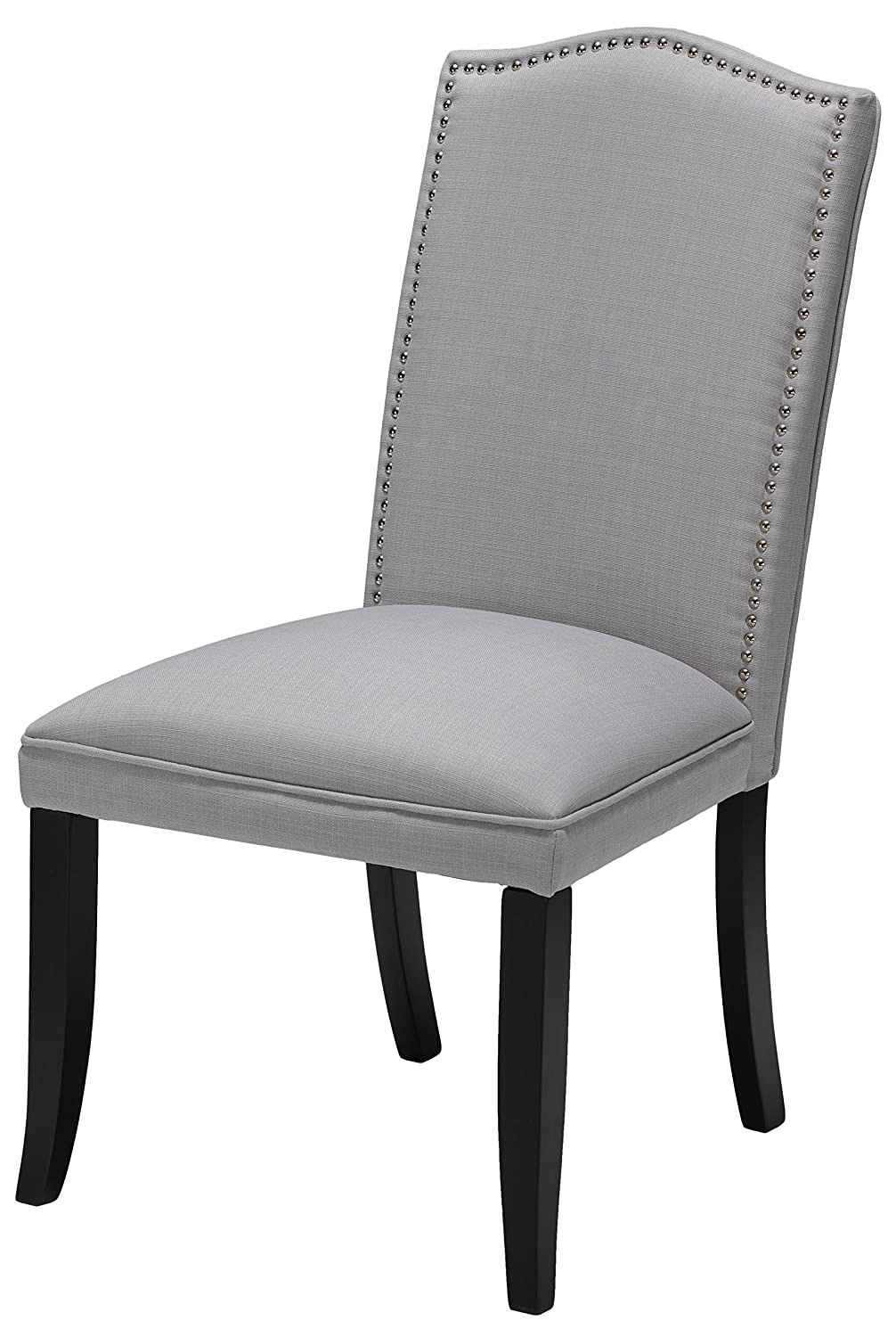Amazon.com   Cortesi Home Duomo Linen Crown Back Dining Chair, Stone Grey,  Set Of 2   Chairs