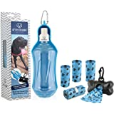 Drink Doggie Travel Dog Water Bottle & Bundled Waste Bags | Portable | Collapsible Dog Water Bottle | Holds 16.9oz of Water | by fab fur gear