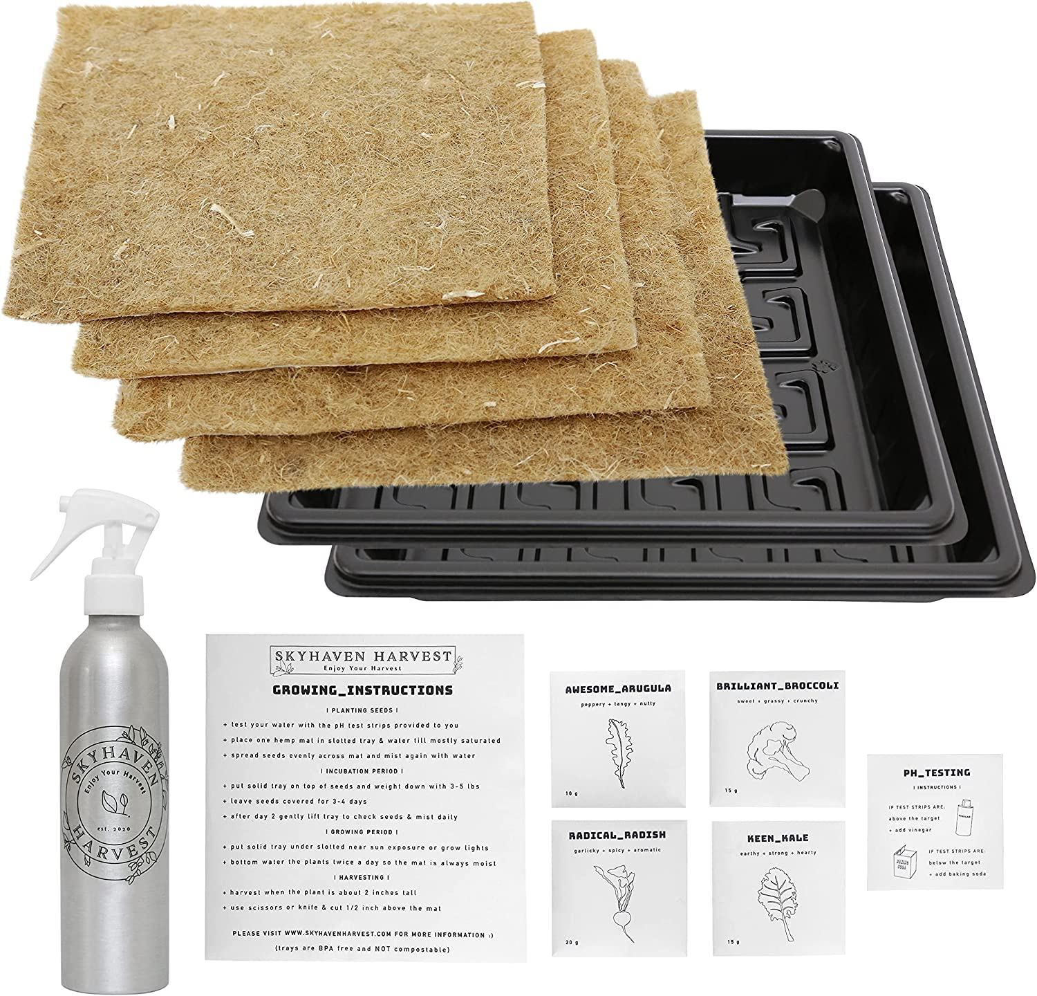 Mini Hydroponic Microgreens Grow Kit - Give The Healthy Gift of a Garden. 4 of Each: Grow mats, Seed Packs, pH Test Strips Included for 4 harvests. Reusable Tray Pairs and Spray Bottle Included
