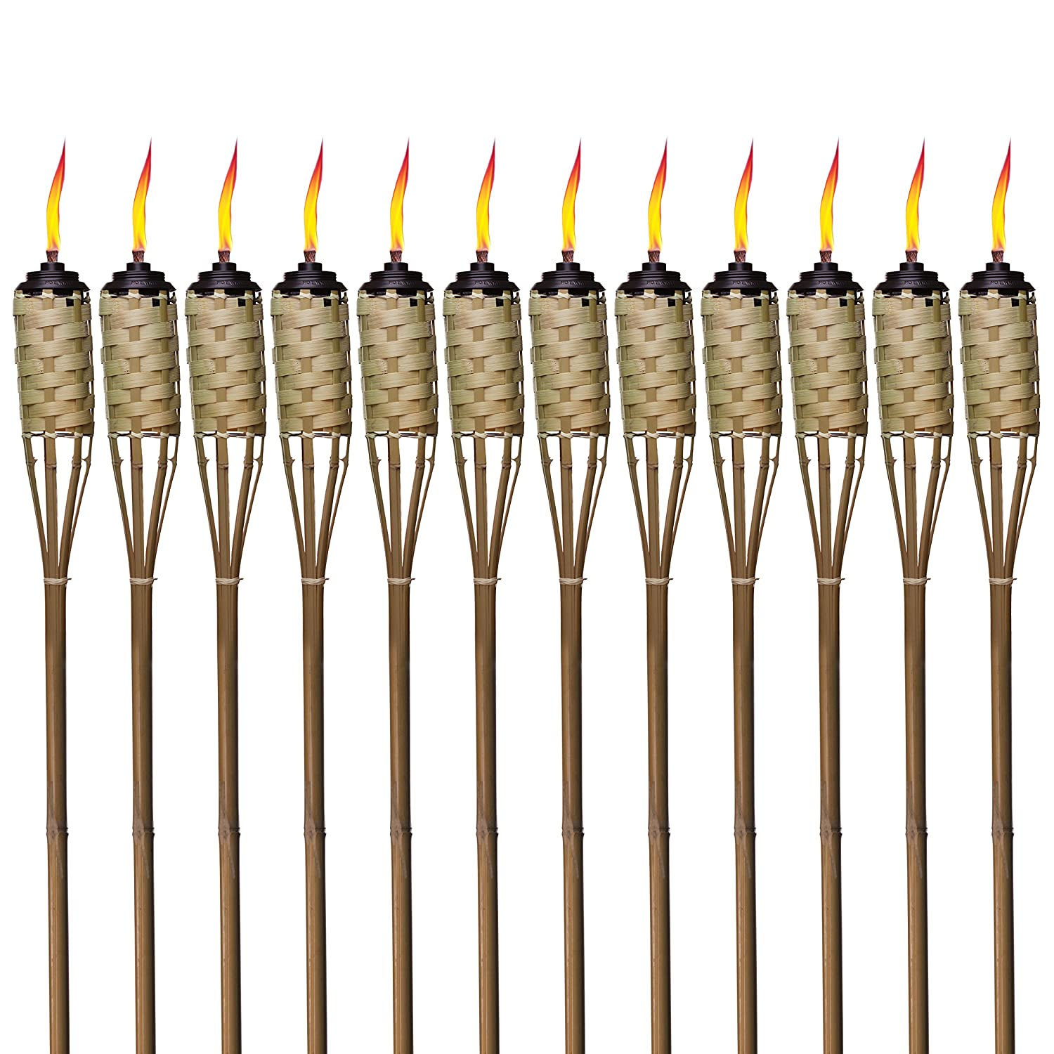 low priced 9ffa2 050ec TIKI Brand 1118137 Brown Easy Pour 12-Pack 57 Inch Tiki Torch Bamboo  Classic Weave
