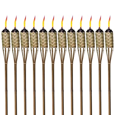 TIKI Brand 57-Inch Luau Bamboo Torches, Pack of 12