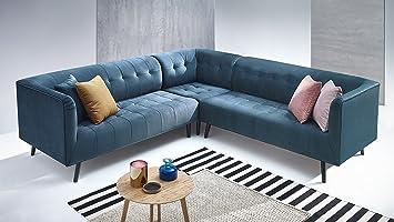 Bobochic Paris sofá de ángulo Fijo (panorámica, Tejido, Azul ...