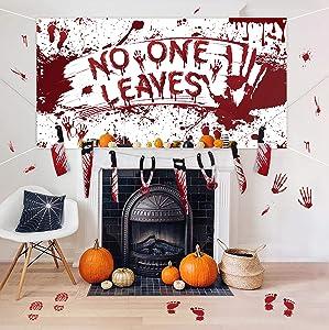 Halloween Decorations Set - Bloody Backdrop & Garland Banner & Footprints Handprints Floor Clings Decals - Zombie Vampire Party Supplies Garage Yard Outdoor Indoor Decor