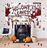 Halloween Decorations Set - Bloody Backdrop+ Garland Banner+Footprints/Handprints Floor Clings Decals - Zombie Vampire…