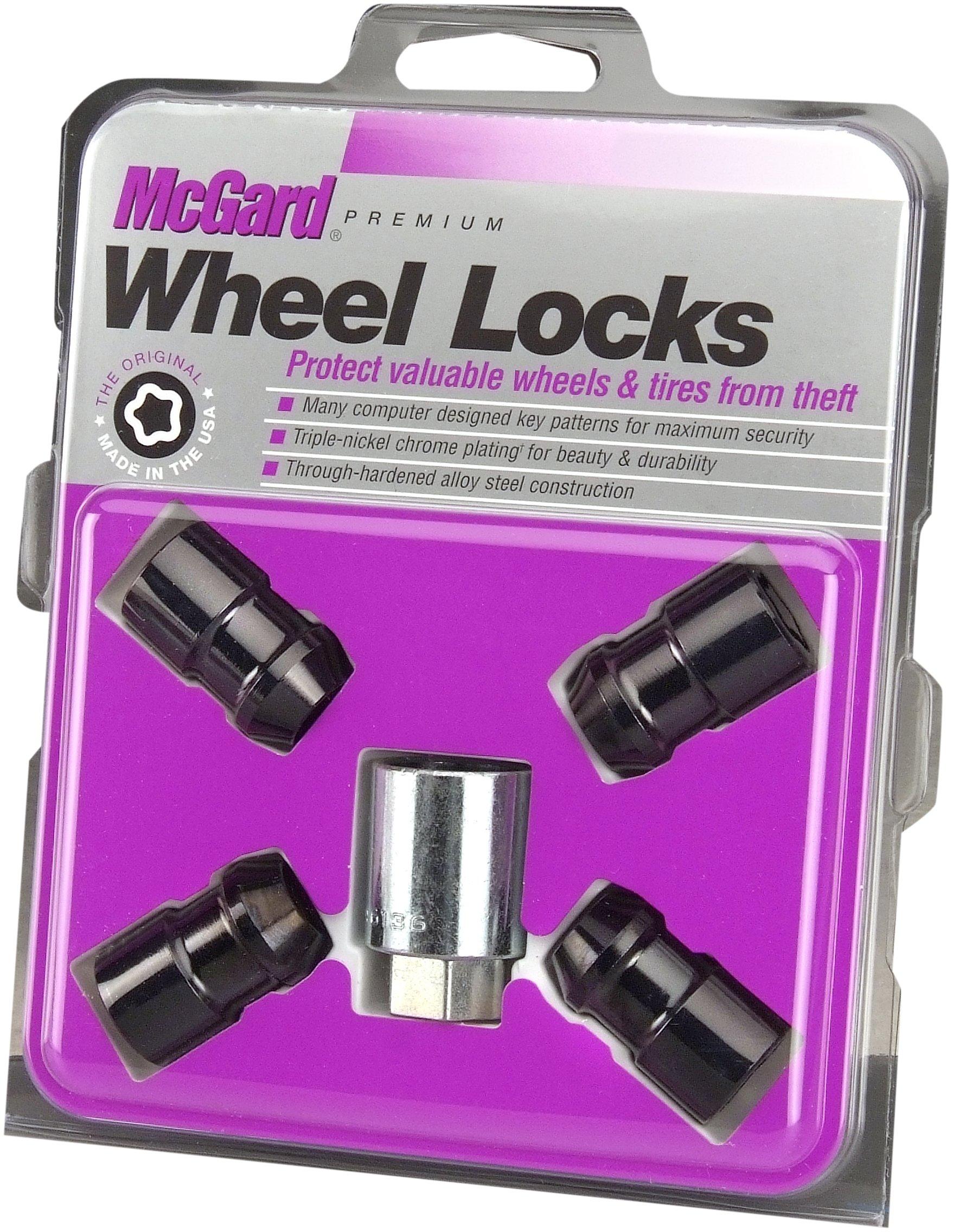 McGard 24038 Chrome/Black Cone Seat Wheel Locks (1/2''-20 Thread Size) - Set of 4