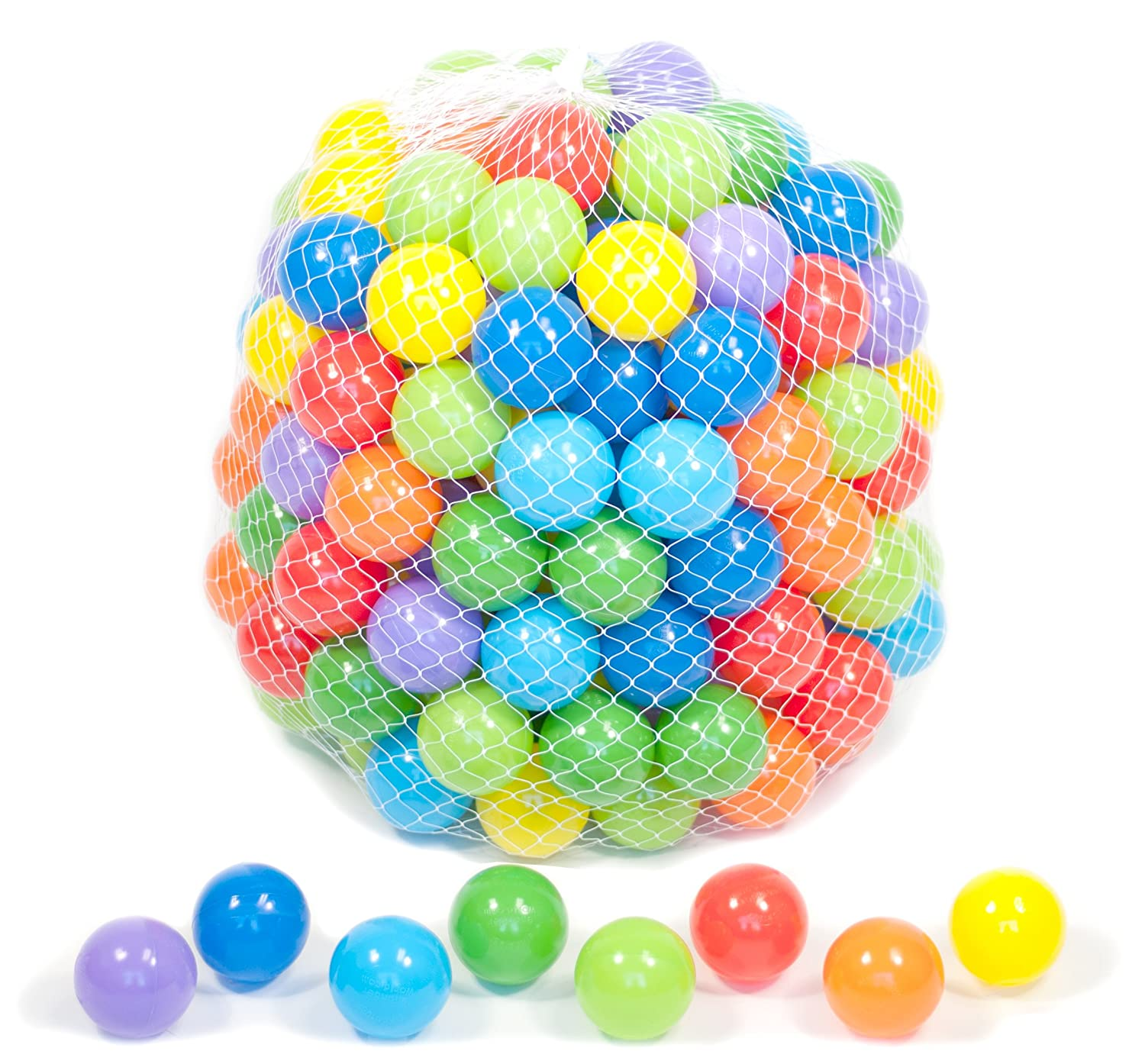 Orange Non-Toxic 200 Phthalate Free Crush Proof Non-Recycled Quality 6.0cm Pit Balls for Kids w//Net Tote Toss Zone /& Test Reports: 8 Colors Red Sky Blue and Purple eWonderWorld CT-3726 Lime Green Blue Yellow