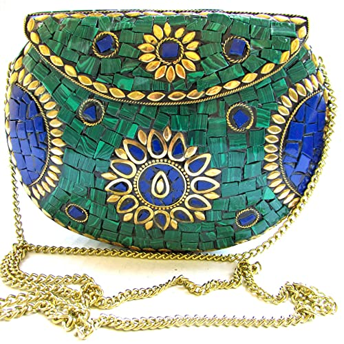 9de437904faaf Image Unavailable. Image not available for. Color: Handcrafted💕 UNIQUE  Green & Blue Stones Mosaic Bag Golden Antique Brass Metal Evening Clutch  Purse