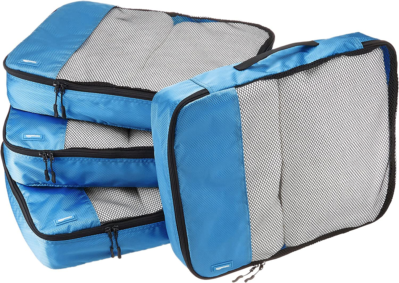 AmazonBasics - Bolsas de equipaje grandes (4 unidades), Azul