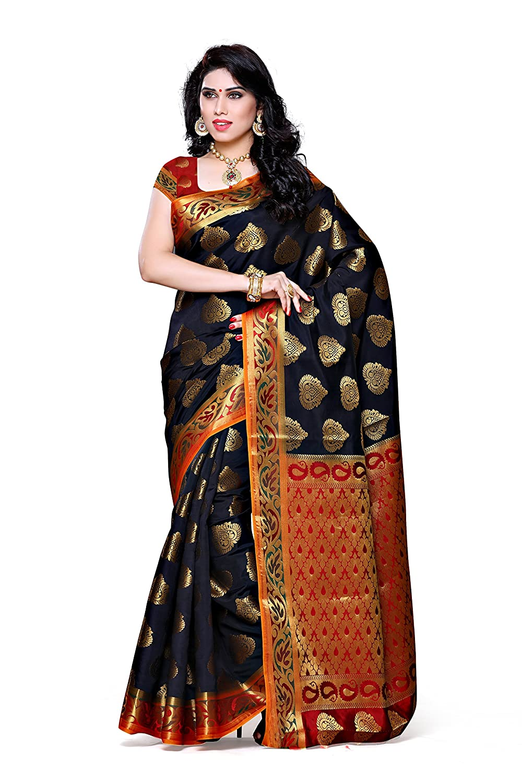 Black Woven Silk Saree With Blouse Piece
