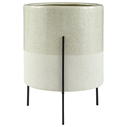 9be404c2155 Amazon.com  Rivet Mid-Century Ceramic Planter with Iron Stand 18.9