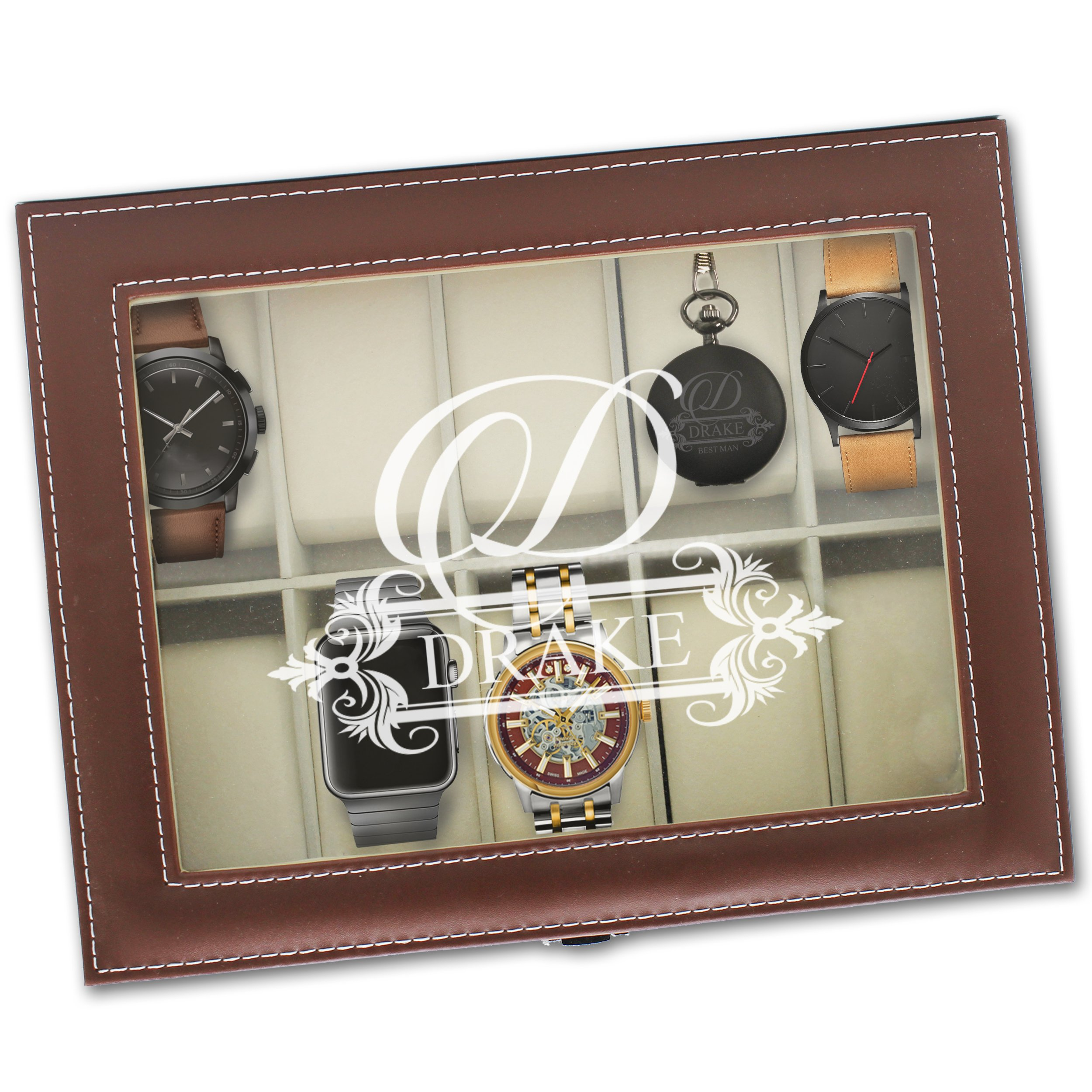 Custom Personalized Watch Storage Box Glass Display Case Gift for Men, Him, Husband - Engraved and Monogrammed for Free (Brown)
