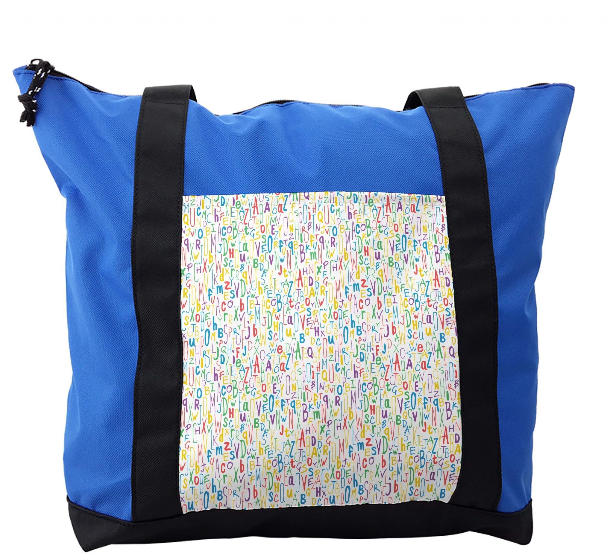 Lunarable ABC Kids Shoulder Bag, Hand Drawn Creative Letter, Durable with Zipper