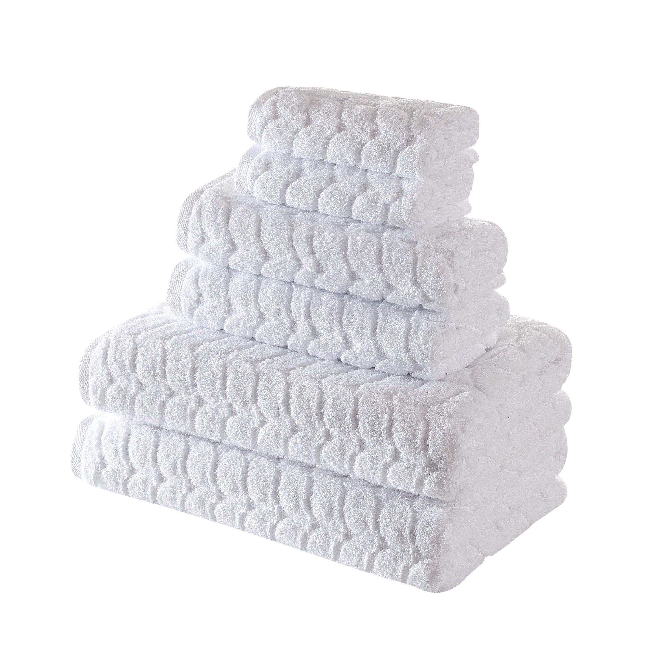 Bagno Milano 700 GSM Ultra Soft Plush Towel , Aqua Fibro Extra-Absorbent Natural, untreated GMO free Turkish Cotton (6 Pieces Towel Set, White)