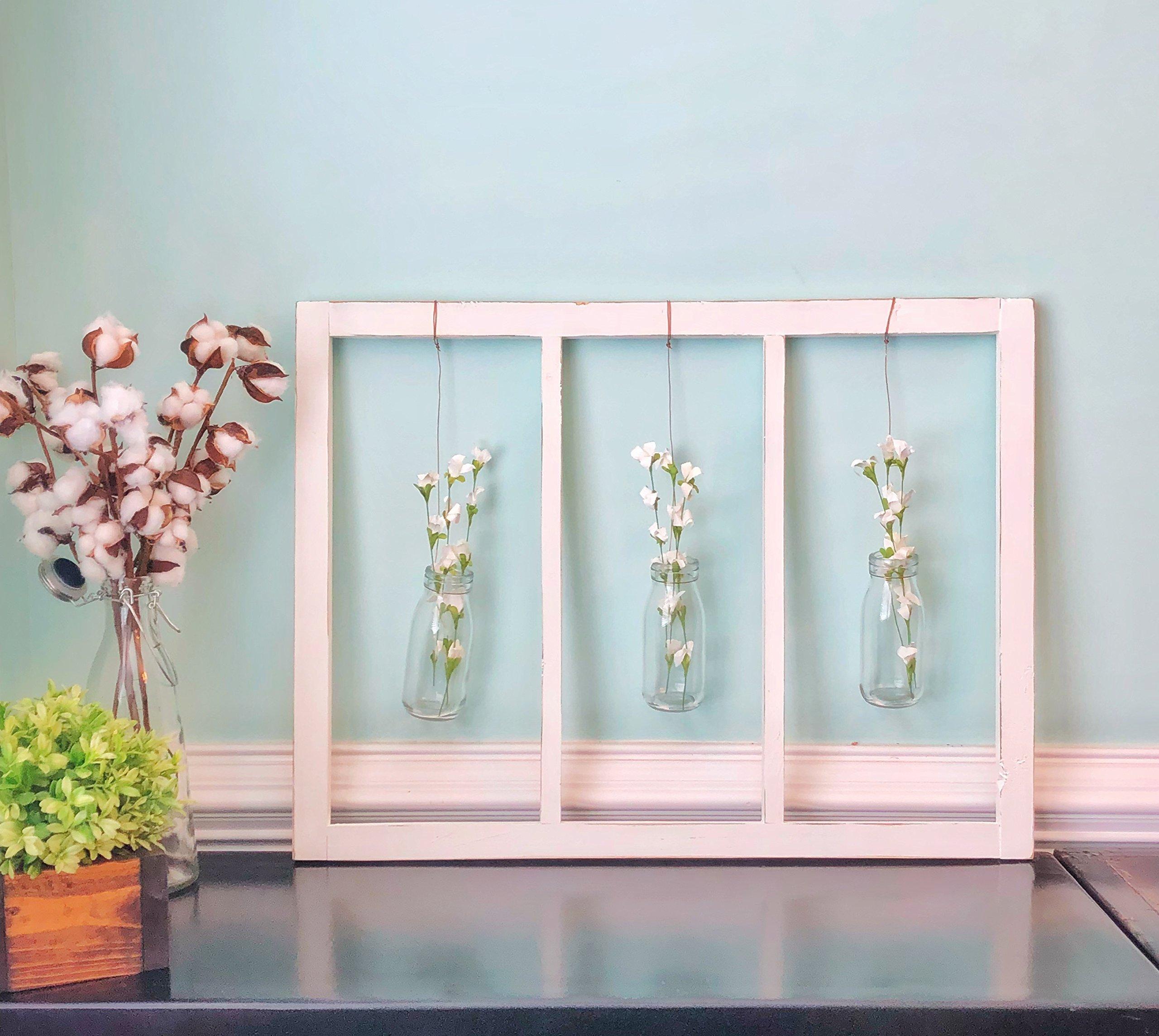 Handmade 3 Pane Window with floral milk bottles