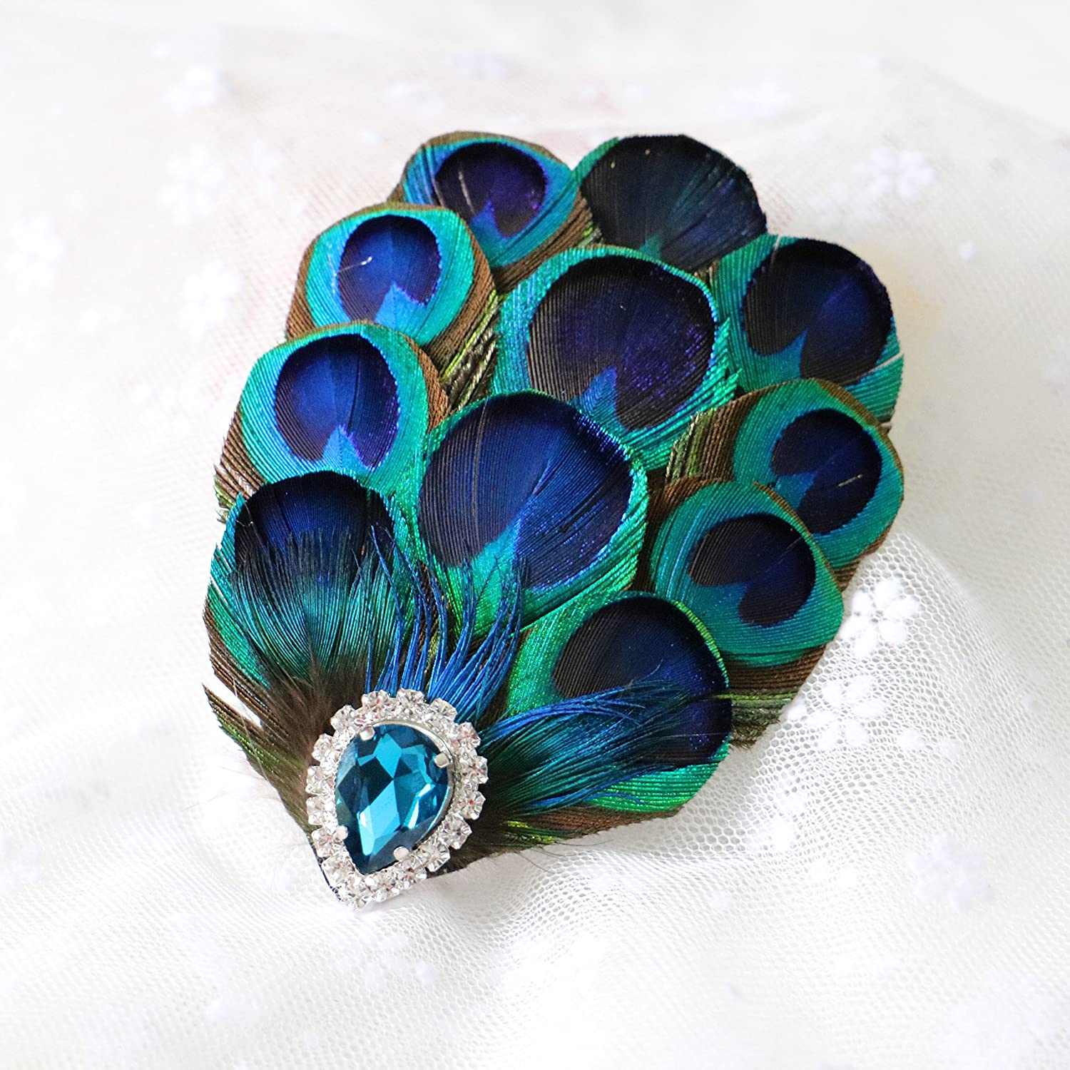 RUNHENG Handmade Feather Peacock Hairclip, Natural Feather Fascinator Barrette with Sparking Rhinestone and Blue Diamond.