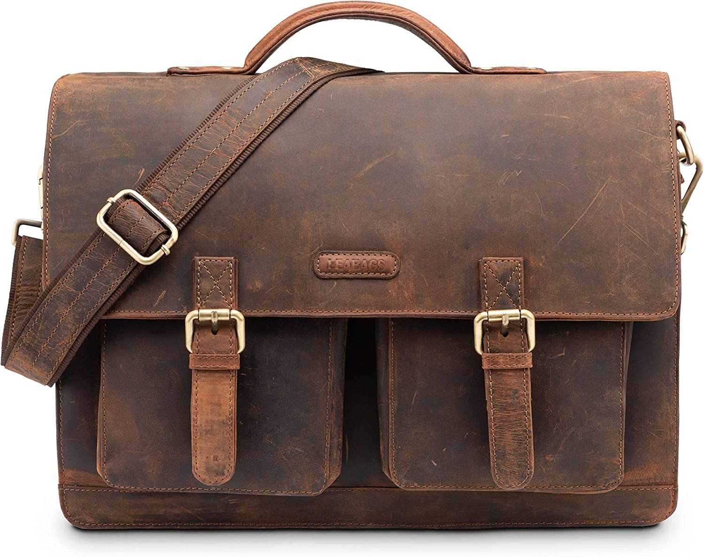 40 x 12 x 31 cm : ca LEABAGS Miami Aktentasche Laptoptasche 15 Zoll Schultertasche aus echtem Leder, CrazyVinkat LxBxH