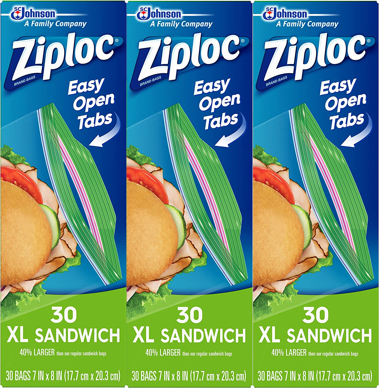Ziploc Sandwich Bags, Easy Open Tabs, XL, 30 Count, Pack of 3 (90 Total Bags)