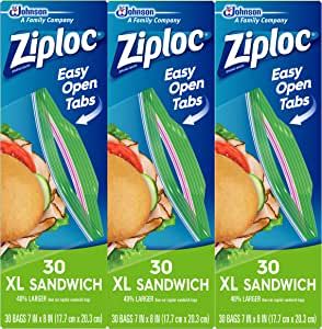 Ziploc Sandwich Bags with New Grip 'n Seal Technology, XL, 30 Count, Pack of 3 (90 Total Bags)