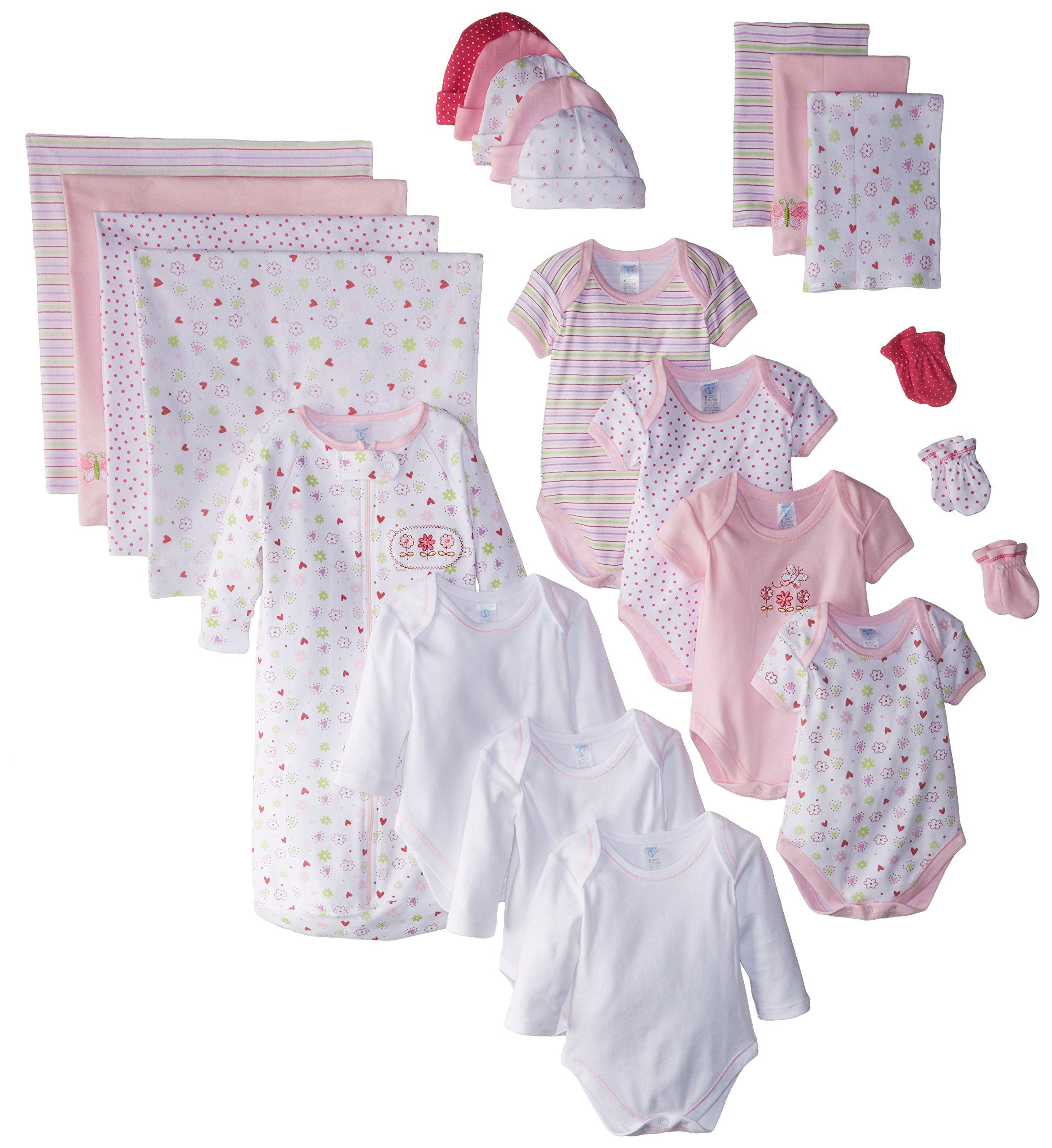 SpaSilk Essential Newborn Baby Layette Set - 0-6 Months - Pink Girl, Set of 23