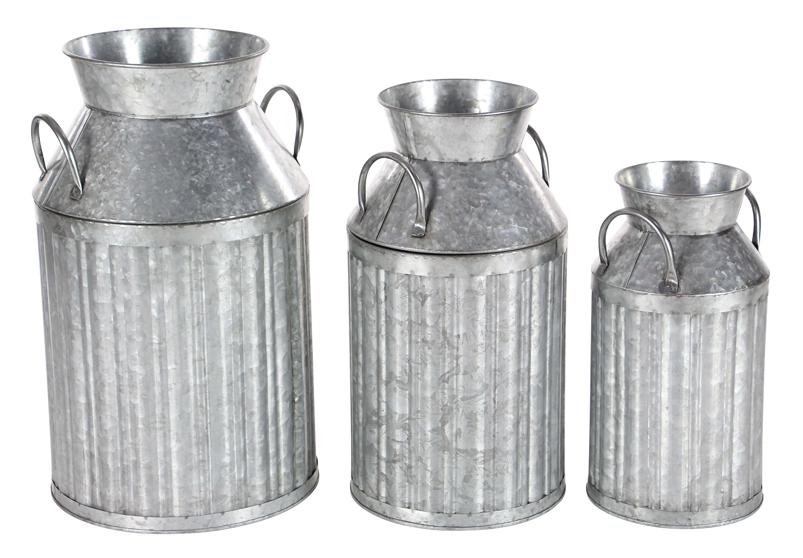 Deco 79 98145 Iron Milk Jugs (Set of 3), Gray by Deco 79