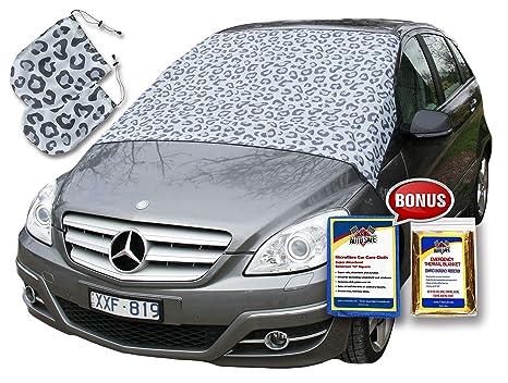 Snowoff Pack – leopardo coche parabrisas nieve Cover + 2 Espejo retrovisor cubre – hacer nieve