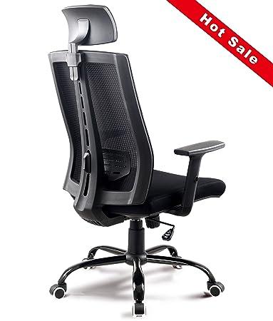 New Ergonomic Office Swivel Mesh Computer Chair With Adjustable Headrest  Armrest Lumbar Support