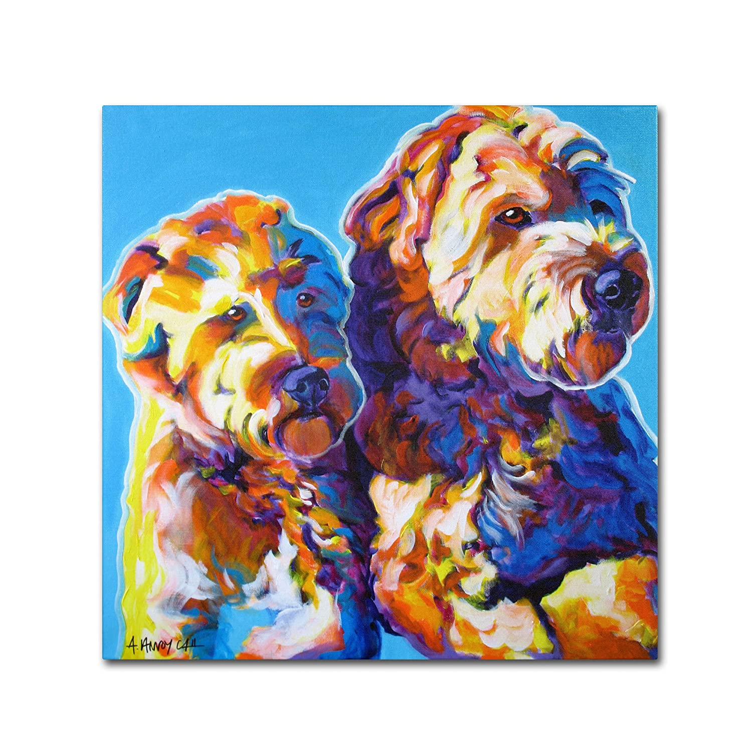 Trademark Fine Art Max and Maggie Artwork by DawgArt, 24 by 24-Inch