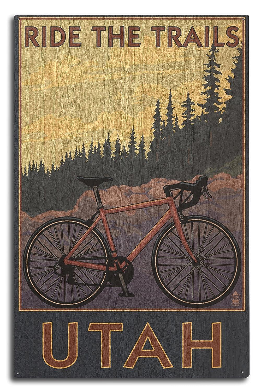 ユタ州 – Mountain Bikeシーン 10 x 15 Wood Sign LANT-34099-10x15W B07366YCBR  10 x 15 Wood Sign