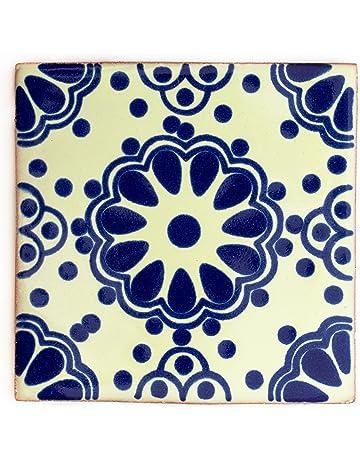 10,5 cm Lot de 10 fait /à la main et /éthiquement n/égoci/é par Tumia LAC Carrelage en c/éramique mexicaine