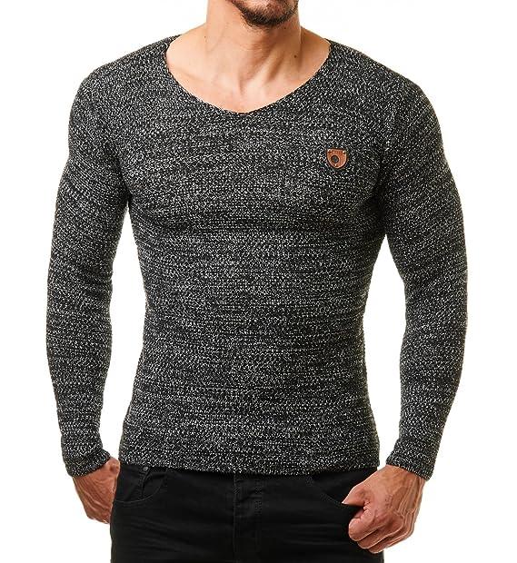 EightyFive EF1464 Jersey de hombre, blanco y negro negro S