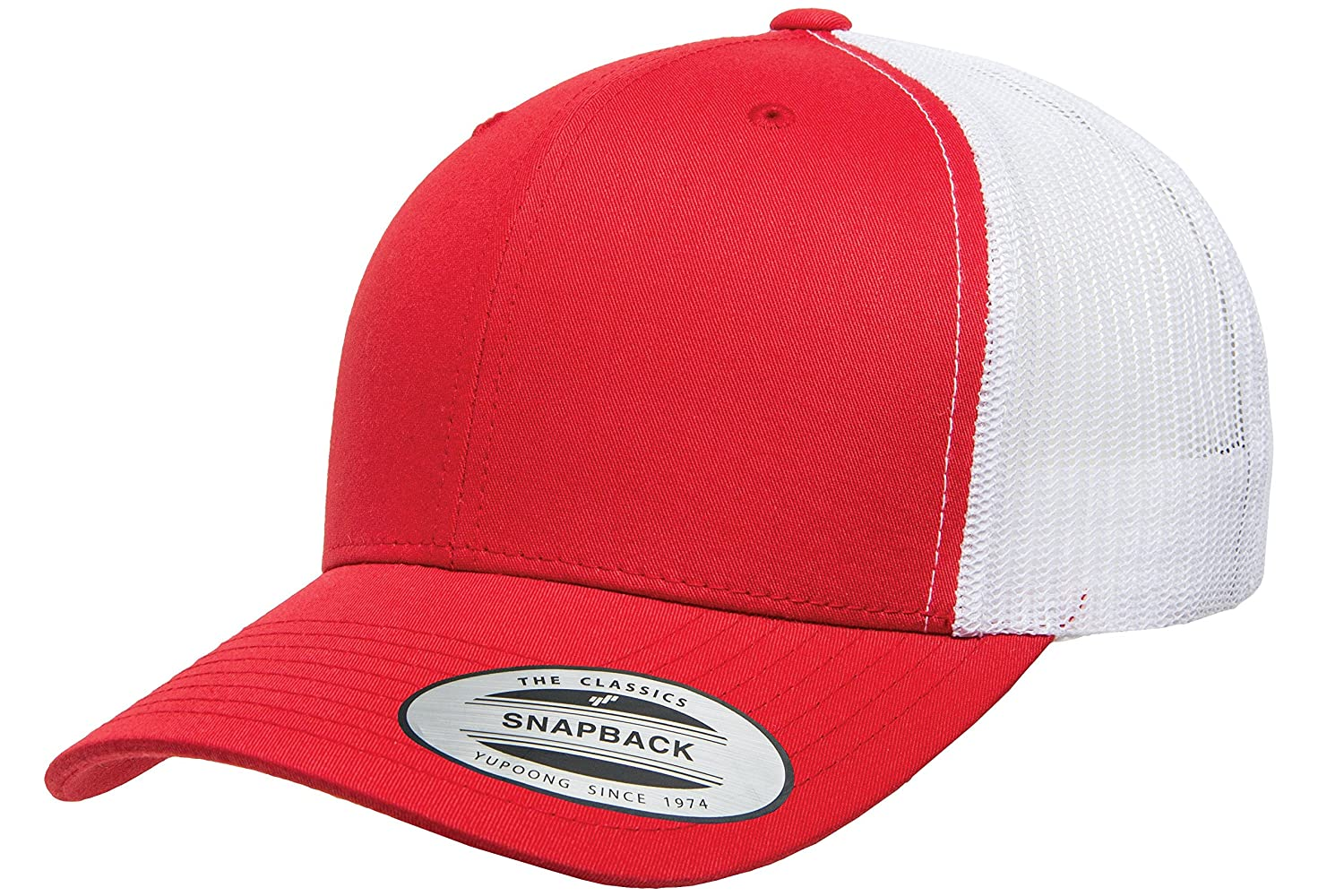 f69cc740777265 Yupoong Retro Trucker Hat & 2-Tone Snapback - 6606, by Flexfit (Red/White):  Amazon.ca: Clothing & Accessories