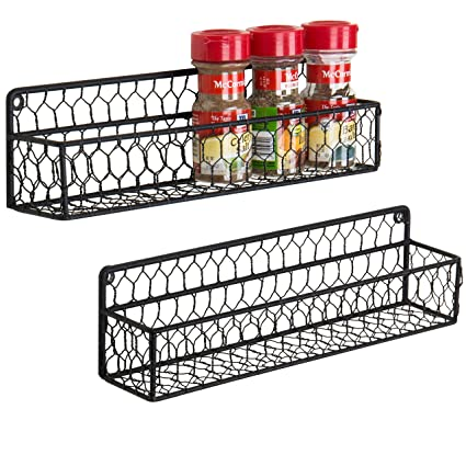 Mygift 4 Tier Country Rustic Wall Mounted Wood Spice Rack Display