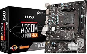 MSI ProSeries AMD A320 1st, 2nd, 3rd Gen Ryzen Compliant AM4 DDR4 HDMI DVI M.2 USB 3 Micro-ATX Motherboard (A320M-A PRO MAX)