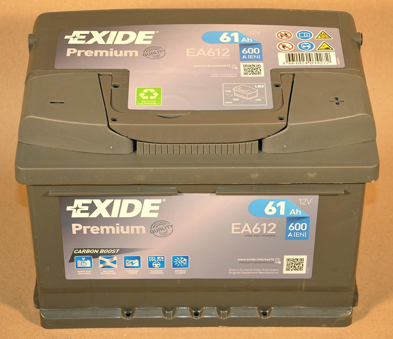 Exide Premium Carbon Boost EA612 61Ah Autobatterie (Neuestes Modell 2014/15) DPG1-TN2350